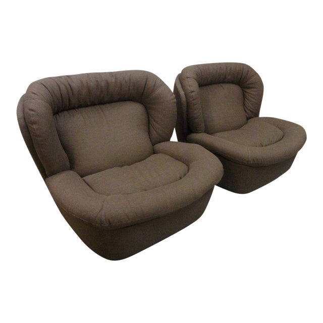 Newly Upholstered Brown Modern Lounge Chairs - a Pair - Image 1 of 5