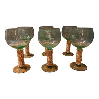 Green Rain Glass Wine Glasses With Wicker Stems - Set of 6 For Sale