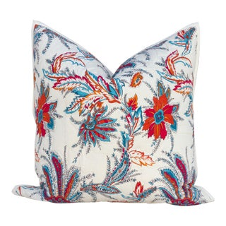 Block Print Floral Quilt Pillows For Sale