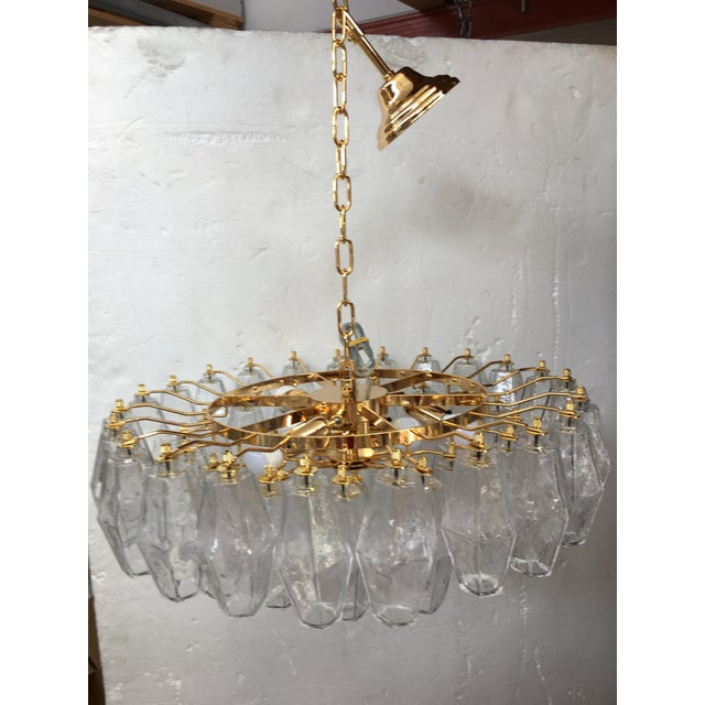 Chandelier Murano Glass Poliedro transparent gold 24k Metal Frame Metal frame in gold 24 k Space parts included. Diameter...