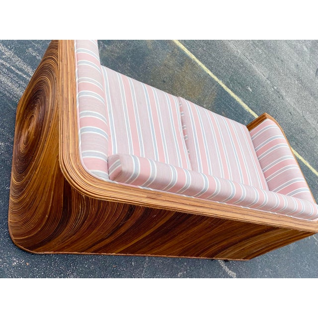 Wood Circular Pencil Reed Sofa For Sale - Image 7 of 8