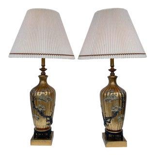 Large Asian Motif Lamps After James Mont - a Pair For Sale