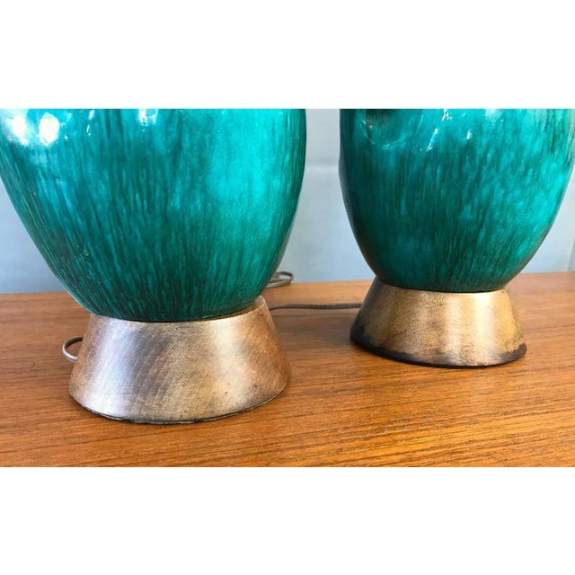 Turquoise Marcello Fantoni Turquoise Table Lamps - A Pair For Sale - Image 8 of 9