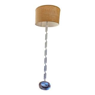 Vintage Mid Century Modern Cylinder Design Acrylic + Brushed Metal Floor Lamp For Sale