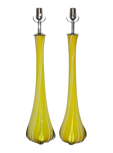 Luxury Vintage Murano Glass Table Lamps Lemon Yellow Decaso