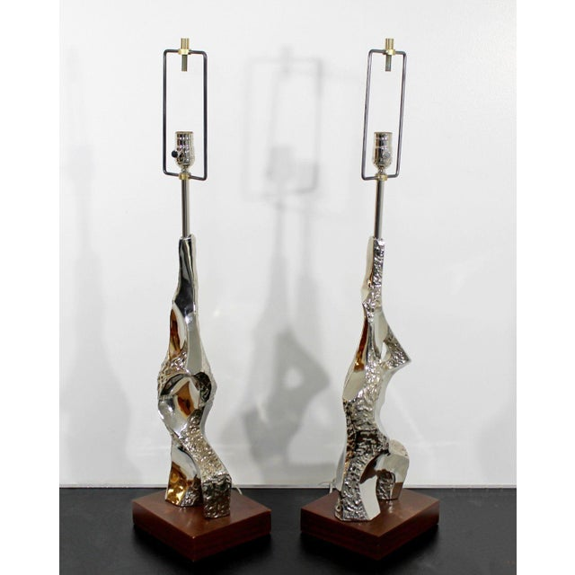 1960s 1970s Mid Century Modern Brutalist Nickel Table Lamps Richard Barr for Laurel - a Pair For Sale - Image 5 of 9