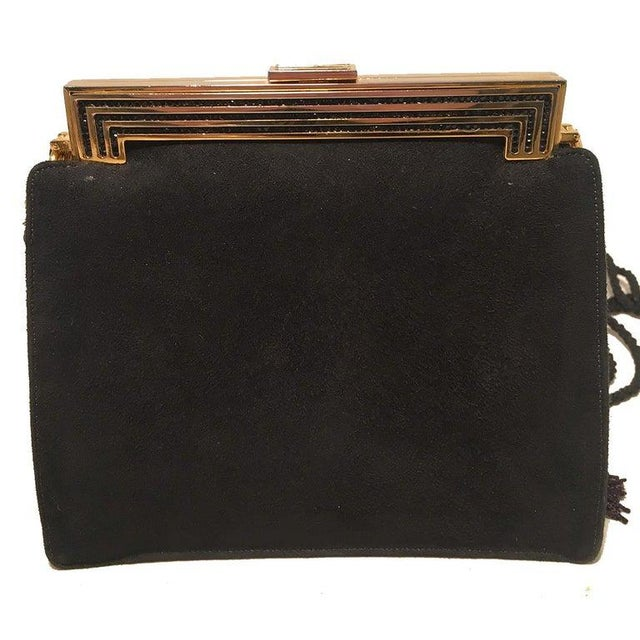 Metal Judith Leiber Black Suede Evening Bag Clutch With Silk Tassel For Sale - Image 7 of 10