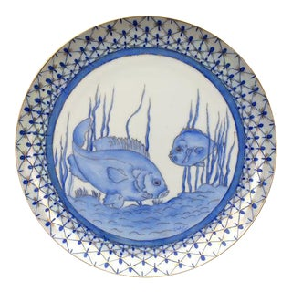 1930s Blue & White Hand-Painted Fish Plate For Sale