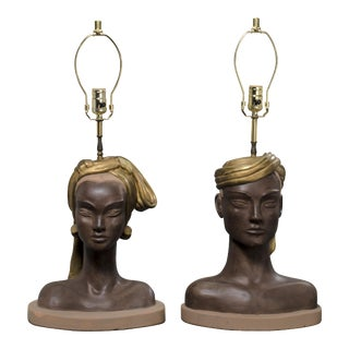 Reglor of California Egyptian Queen & King Bust Table Lamps - A Pair For Sale