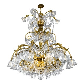 Baccarat Art Deco-Period Crystal Chandelier, 18 Light