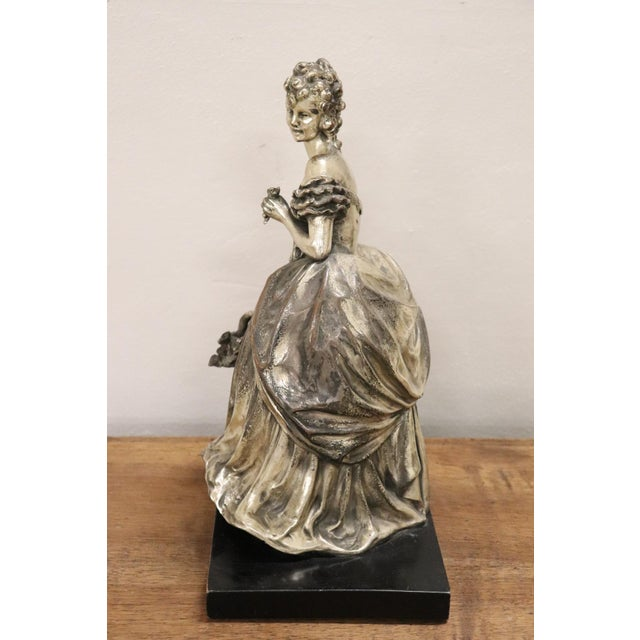 20th Century Italian Sculpture in Silvered Clay Figure of a Lady by B Tornati For Sale - Image 6 of 12