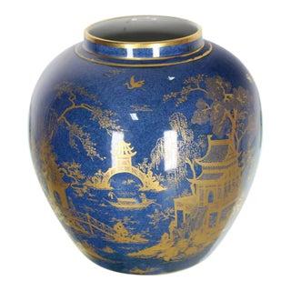 Carlston Ware Globe Shape Cobalt Blue & Gold Vase For Sale