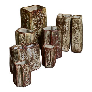Set of Seven Ceramic Jorgen Mogensen Vases, Denmark, 1970s For Sale