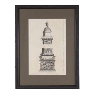 19th C. Framed Antique Architectural Etching Trajan's Column For Sale
