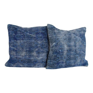 Vintage Large Over Dyed Distressed Blue Hand-Knotted Rug Pillows - a Pair