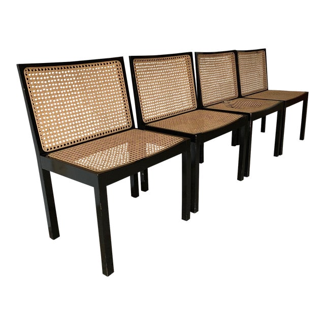 Willy Guhl Stendig Black Lacquer Dining Chairs - Set of 4 For Sale