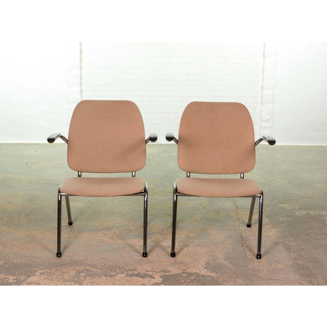 Mid-Century Dutch Design Armchairs on a Chrome Steel Tubular Frame by Martin de Wit for Gispen, 1960s For Sale - Image 6 of 7
