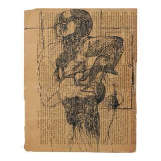 Abstract Figure on Newsprint Mid Century For Sale