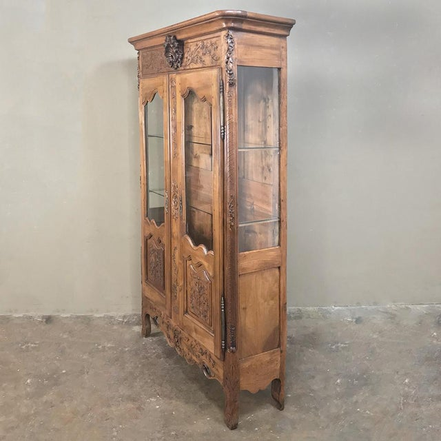Country 19th Century Country French Provincial Walnut Vitrine ~ Bookcase For Sale - Image 3 of 13