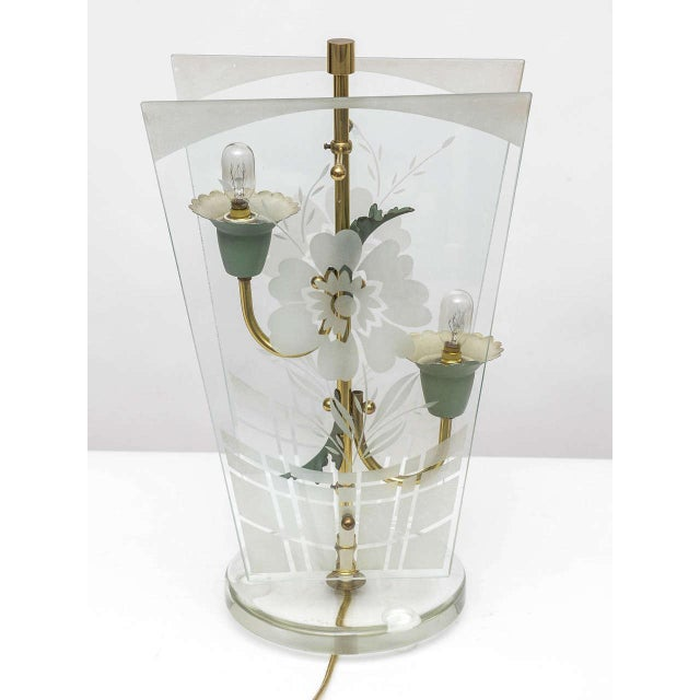 Metal Early Fontana Arte Etched Floral Motif Table Lamp For Sale - Image 7 of 9