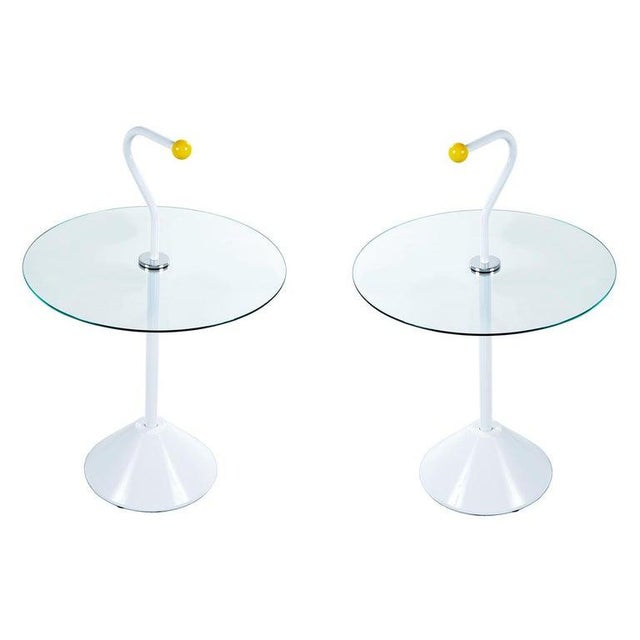 Metal Pair Memphis White Enamel and Glass Side Tables With Handles For Sale - Image 7 of 7
