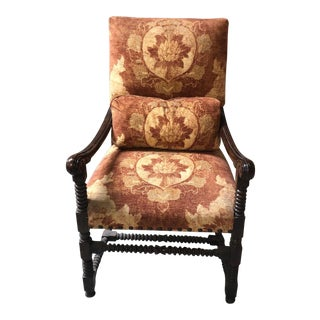 Elegant Designer Spanish Colonial Style Desk Arm Chair For Sale