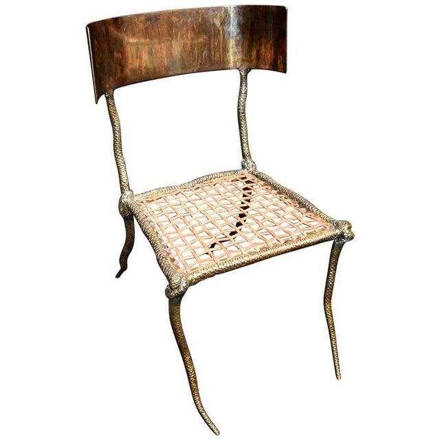 """Sculptural """"Snake"""" Design Brass Desk or Bedroom Chair For Sale - Image 9 of 9"""