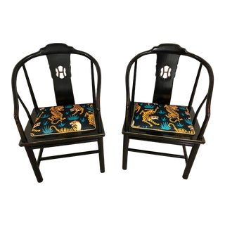 Henredon Ming Chairs With Tigers Fabric - a Pair For Sale