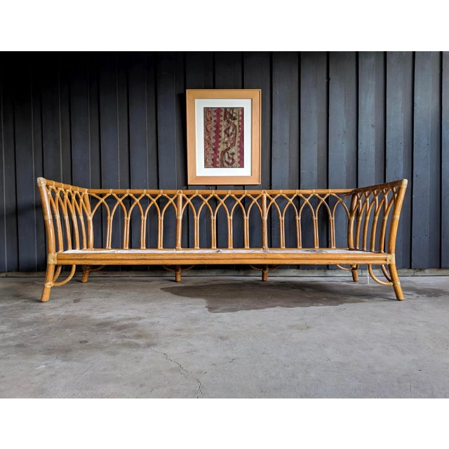 Animal Skin 1980s Contemporary McGuire Bamboo Rattan Sofa For Sale - Image 7 of 11