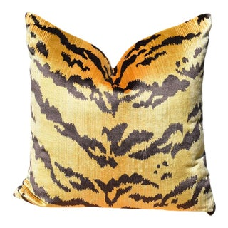 Le Tigre Square Animal Print Down Fill Pillow - 19 X 19 For Sale