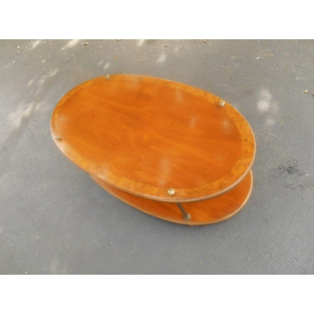 Vintage Brandt Burl Wood Inlay Oval Coffee Table - Image 5 of 7