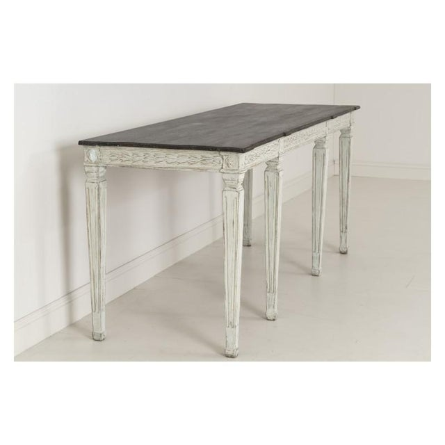 b3aa91d48d9c6 Paint 19th Century Swedish Late Gustavian Console Table With Hand Painted  Porphyry Top For Sale -