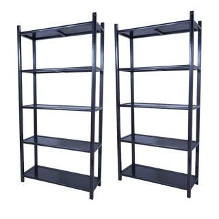 Schumacher Japanese Étagères Wooden Shelves-a Pair For Sale