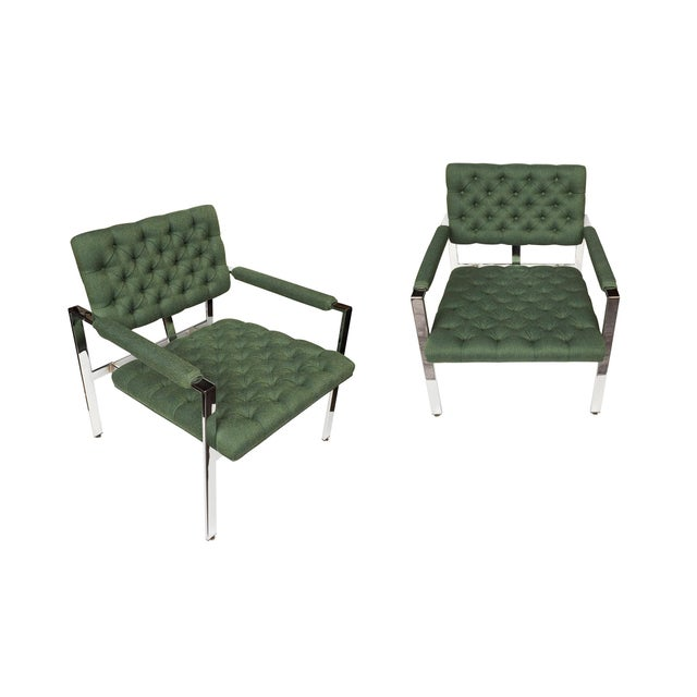 1960s Flat-Bar Chrome Club Chairs by Milo Baughman for Thayer Coggin - a Pair For Sale - Image 13 of 14