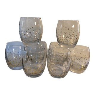 Vintage Gold Dot Crystal Roly Poly Wine Glasses - Set of 8