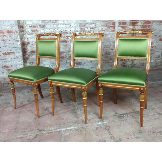 English Regency Parcel Gilt W/Satin Green Upholstery Dining Chairs -Set of 10 - Image 4 of 8