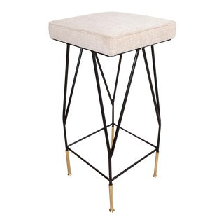Enameled Iron and Brass Bar Stool For Sale