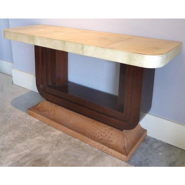 Art Deco Goatskin and Ostrich Skin Clad Console Tables, Pair For Sale - Image 4 of 11