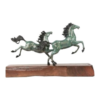 Arabian Horses Galloping Western Equestrian Art Bronze Sculpture For Sale
