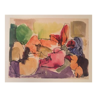 J Kardonne Mid-Century Abstract Nude Watercolor Painting