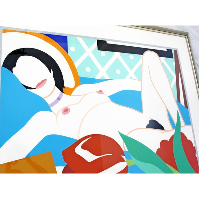 1980s Contemporary Modern Framed Signed Lithograph Monica Nude Tulips Wesselmann For Sale - Image 4 of 7