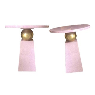 1980s Memphis Style Gold Sphere Terrazzo Effect Side Tables - a Pair