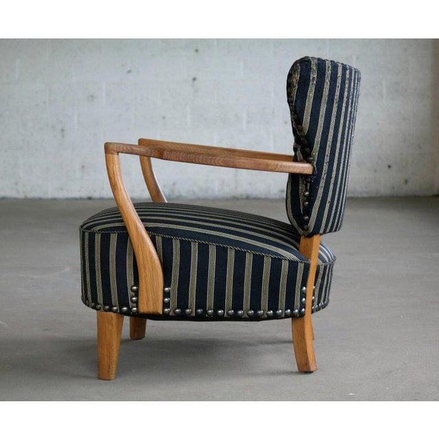 1940s Otto Schulz Style Lounge Chair in Oak with Brass Tacks Danish Mid-Century For Sale - Image 5 of 11
