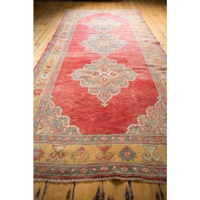 "Textile Vintage Distressed Oushak Rug Runner - 5' X 10'9"" For Sale - Image 7 of 12"