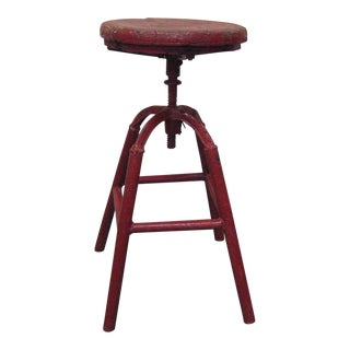 Vintage Industrial Screw Type Auto Shop Stool 1940s For Sale