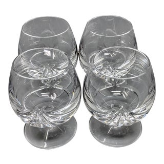 Heavyweight Vintage Cognac Lead Crystal Glasses - Set of 4 For Sale