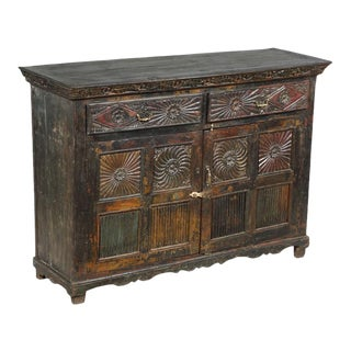 Antique Anglo-Indian Teak Wood Buffet For Sale