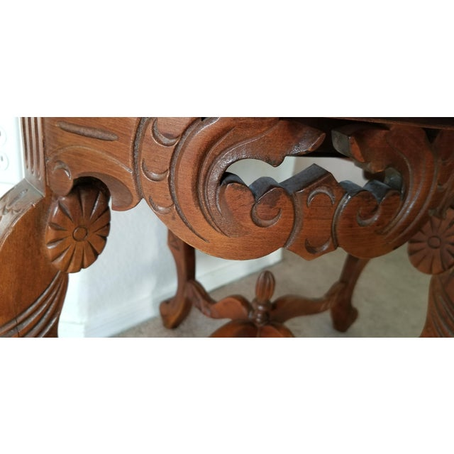 1930's Heavily Carved Wooden Table W/Glass Tray Removable Top For Sale - Image 11 of 13