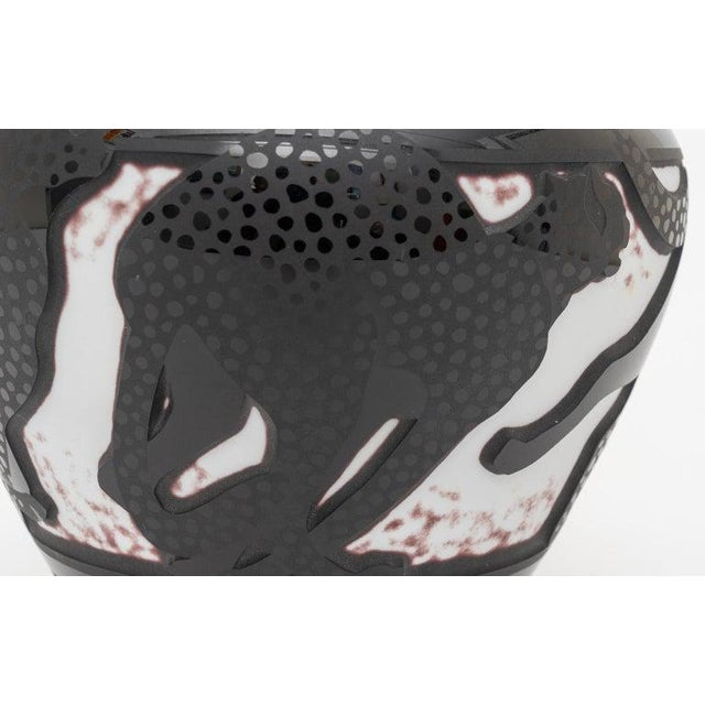 Cameo Glass Nourot Art Glass Vase Cheetahs Signed by Artist For Sale - Image 10 of 12