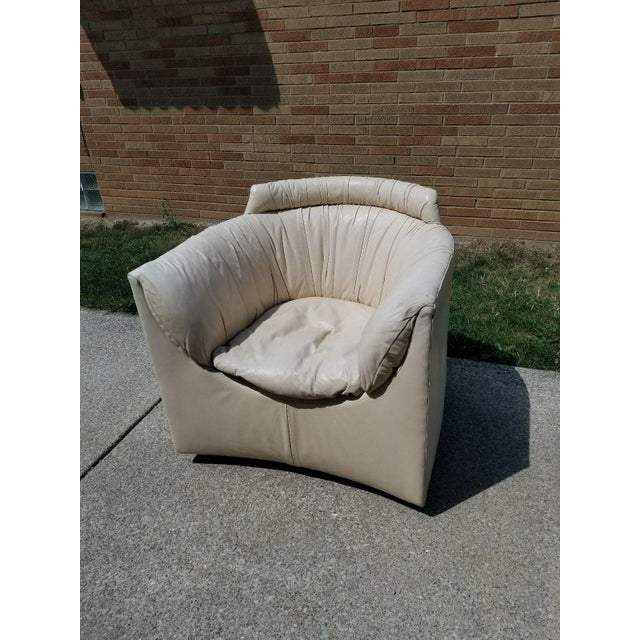 John Saladino for Baker Leather Swivel Lounge Chair For Sale - Image 9 of 11